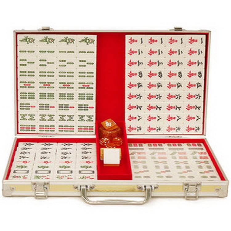 现货直供 家用手搓精品蓝色金色水晶麻将大号透明绿色40号手打麻雀牌