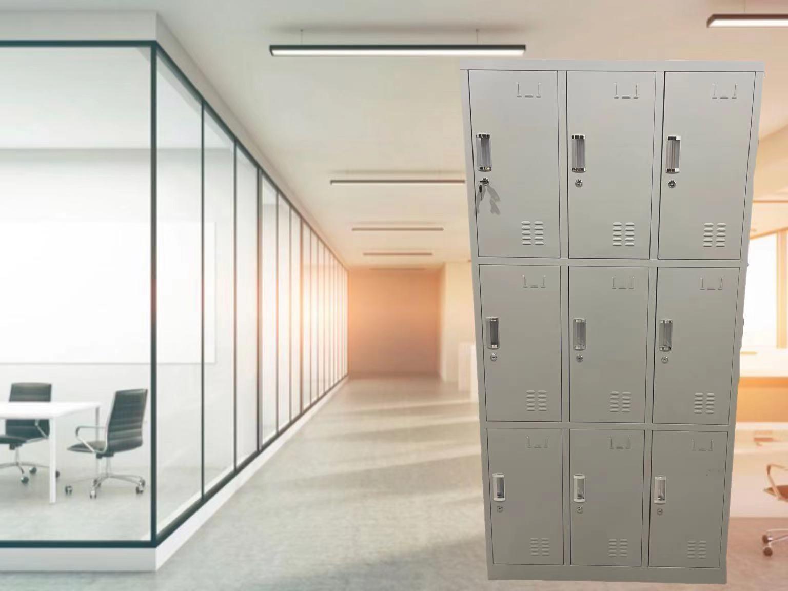 钢制更衣柜员工储物柜6门9门铁皮柜健身房洗浴衣柜鞋柜收纳柜带锁