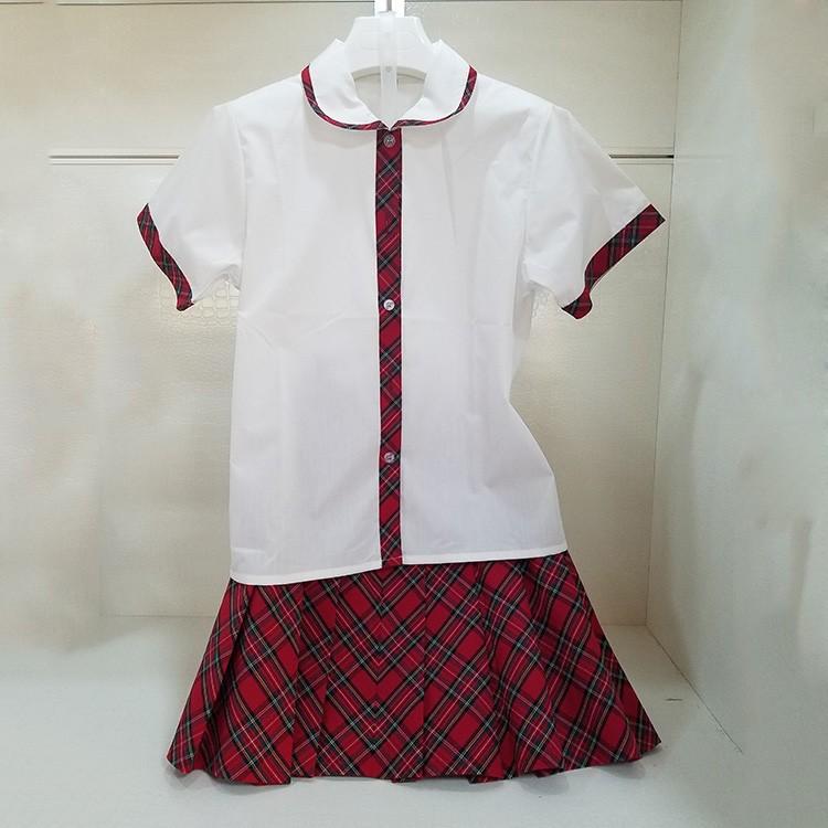 小初高男女生校服定制 惠安班服团服纯棉衬衫带校徽 厂家直销 梦织