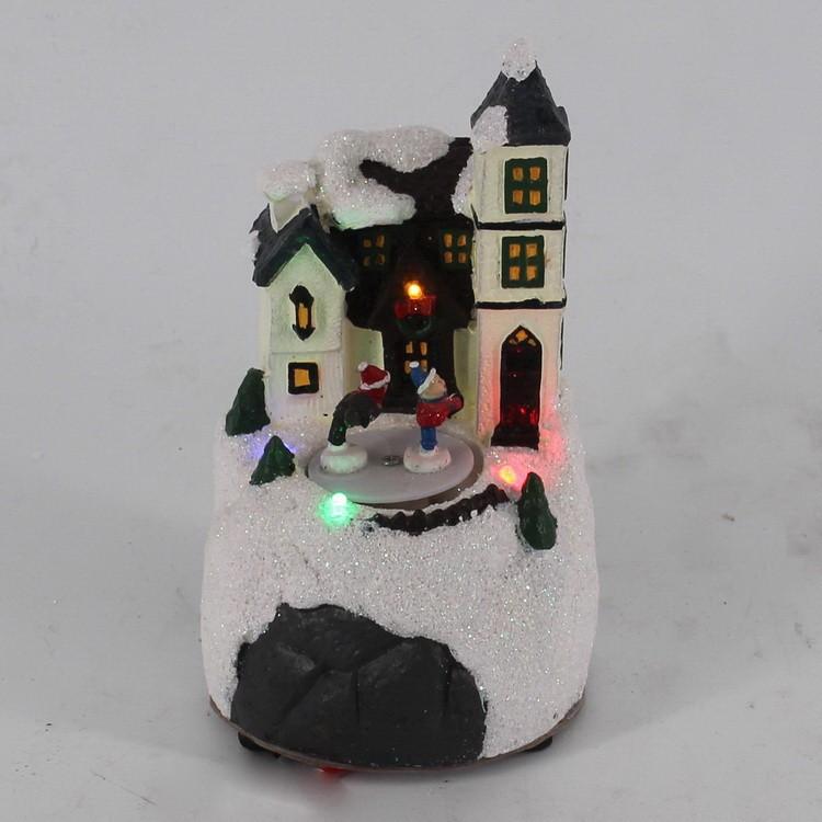 圣诞开发外贸家居 圣诞装饰品 彩色LED灯圣诞 小房子小礼物 圣诞摆件 工艺品厂家 树脂源头工厂
