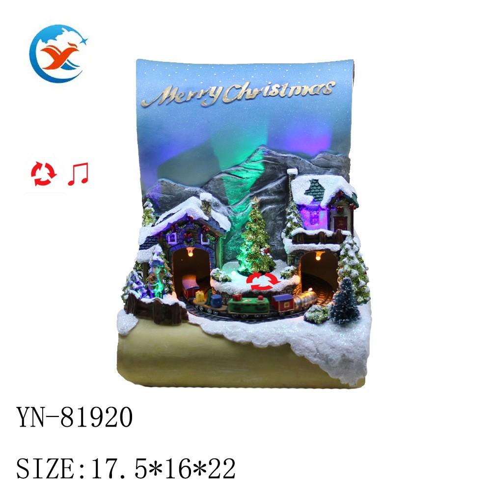 亿诺创意家居圣诞教堂 树脂工艺品 欧式电动音乐LED 摆件工艺品 树脂源头工厂 树脂跨境爆款