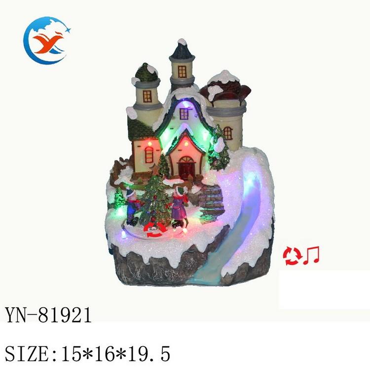 厂家直销创意家具装饰树脂LED圣诞小房子摆件电动音乐工艺品批发 家具礼品 树脂源头工厂