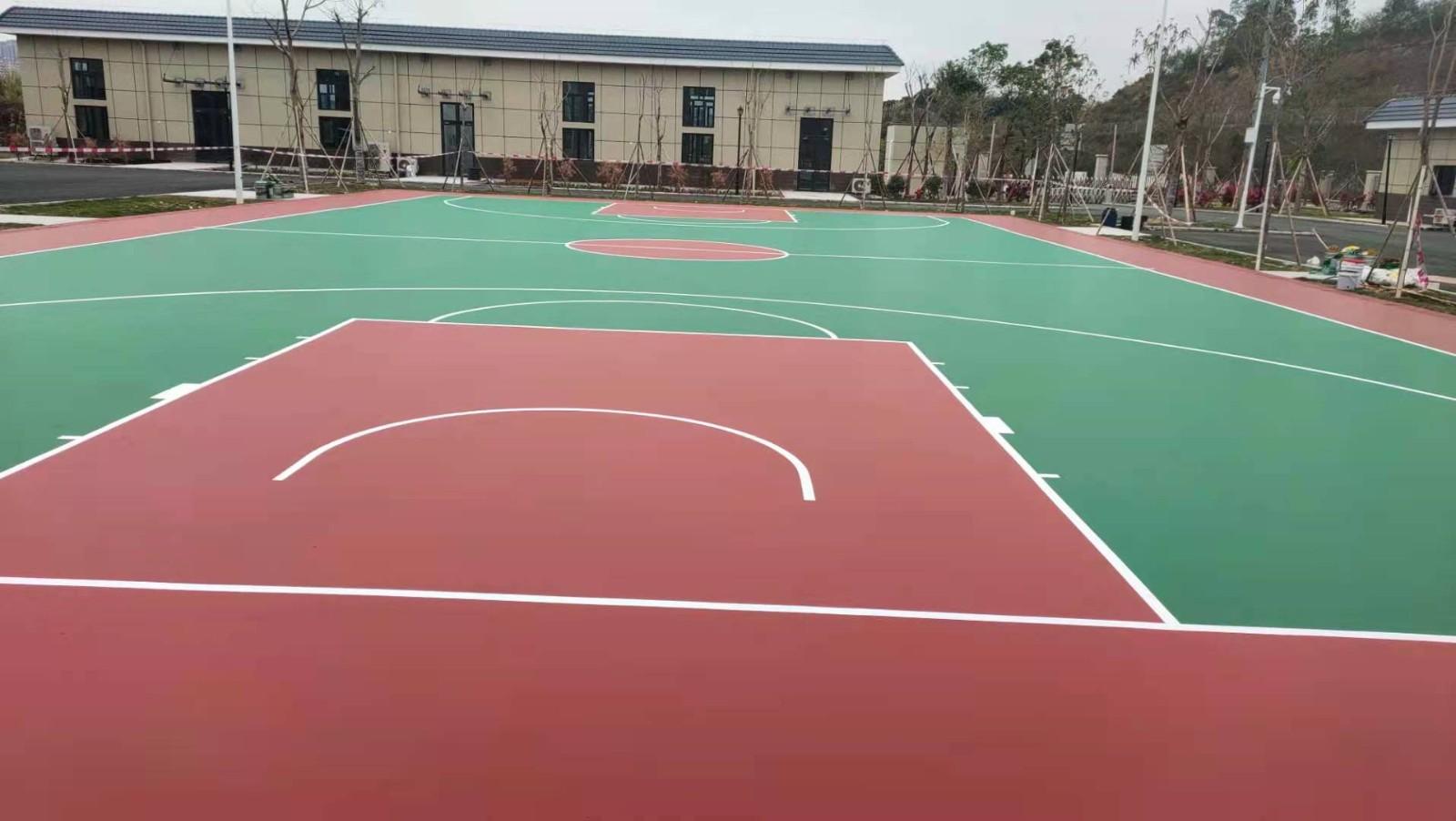 环保硅pu室外篮球场3mm 排球羽毛球网球场馆橡胶地面材料施工 厂家直销