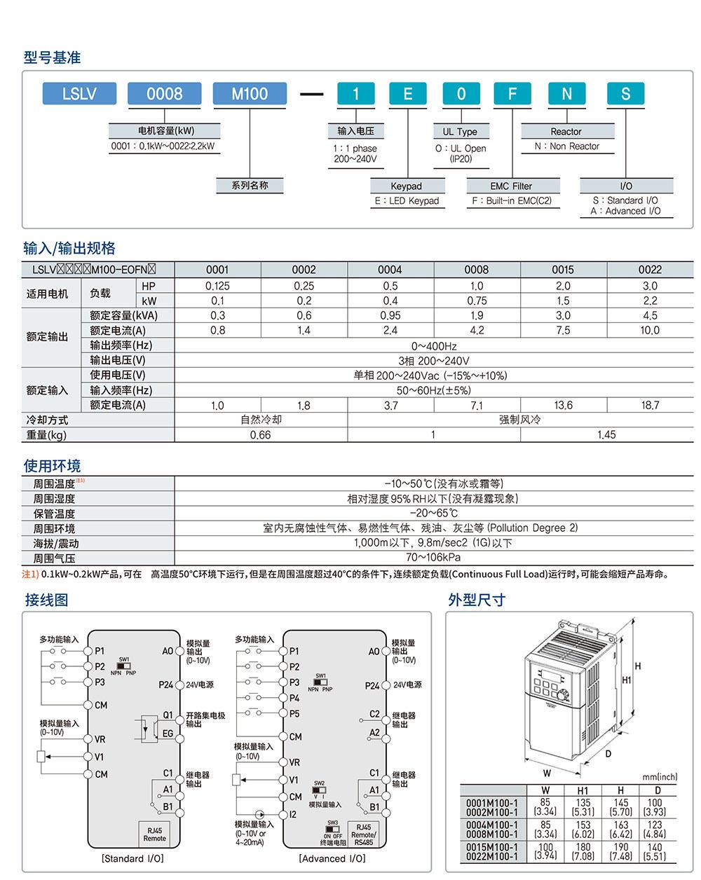 M100选型 参数,尺寸