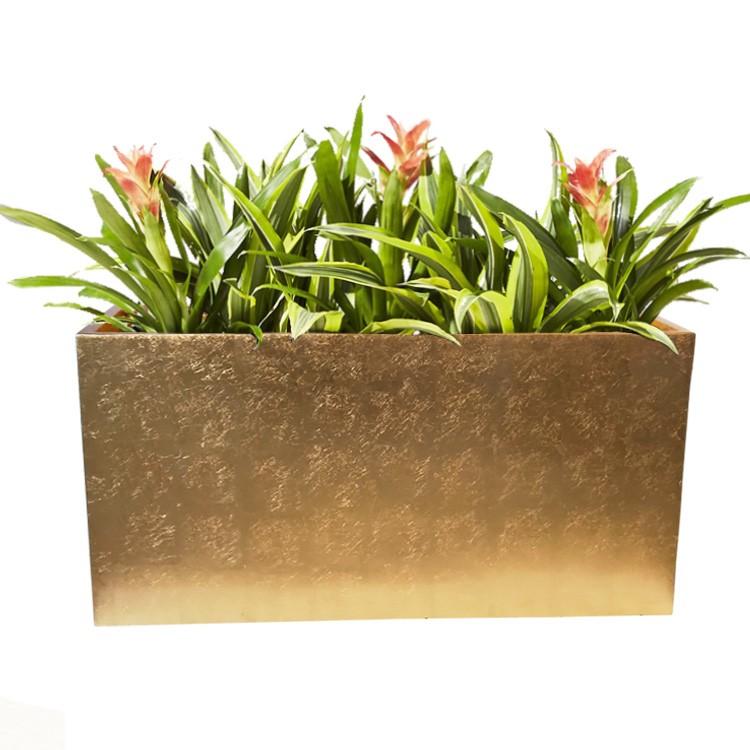 直销长方形组合玻璃钢落地大花瓶花器干花插花槽机场商场大堂装饰