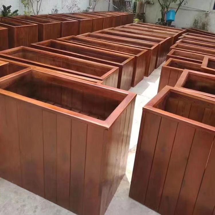 防腐木花箱特大组合种植箱户外庭院阳台花盆碳化实木花槽厂家可定制 沐宸园林